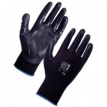 Supertouch Nitrotouch Nitrile Coated Work Gloves (Black)